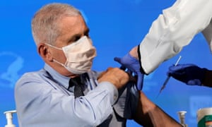 The US's top public health official, Dr Anthony Fauci, prepares to receive a dose of the Moderna Covid vaccine