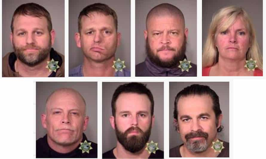 Booking images of Ammon Bundy, Ryan Bundy, and the other members of the militia who were arrested in Oregon.