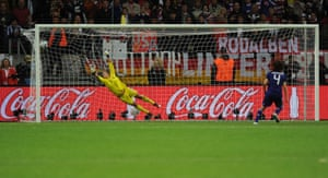 Saki Kumagai beats the United States goalkeeper Hope Solo during the penalty shoot-out to decide the 2011 Women's World Cup final.