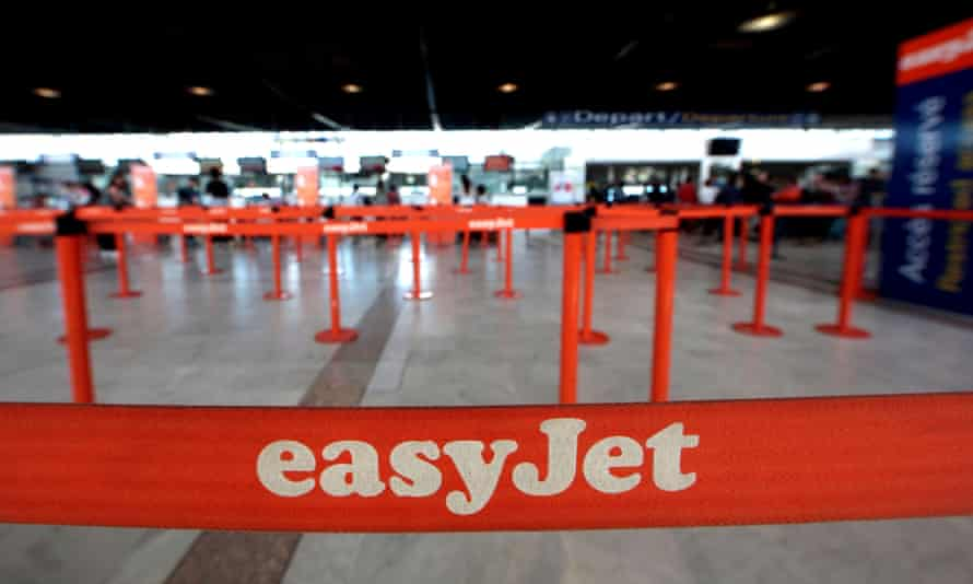 EasyJet check-in desks at Nice airport.