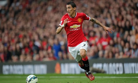 Ángel Di María in action against QPR. He had 'a problem with the English football culture and the climate', says Van Gaal.
