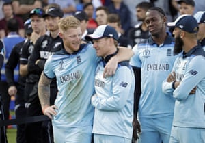 Ben Stokes and Eoin Morgan share an embrace after the final.