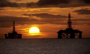 Oil rigs in the Firth of Forth in Scotland.