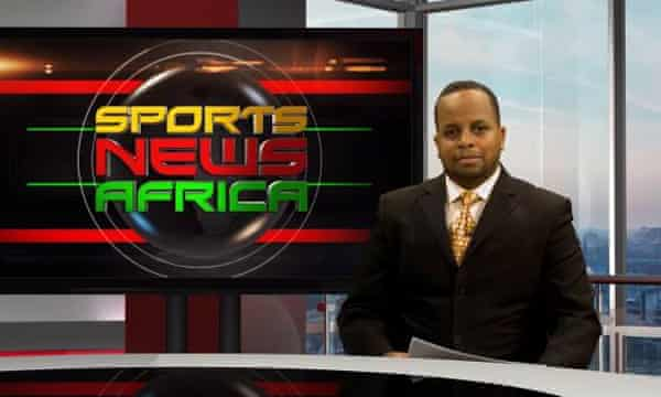 Temesghen Debesai on set of Sports News Africa where he worked as a presenter for a year in London.