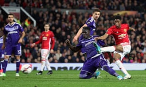 Marcus Rashford strikes to secure a precious extra-time winner for Manchester United in their Europa League quarter-final tie against Anderlecht at Old Trafford