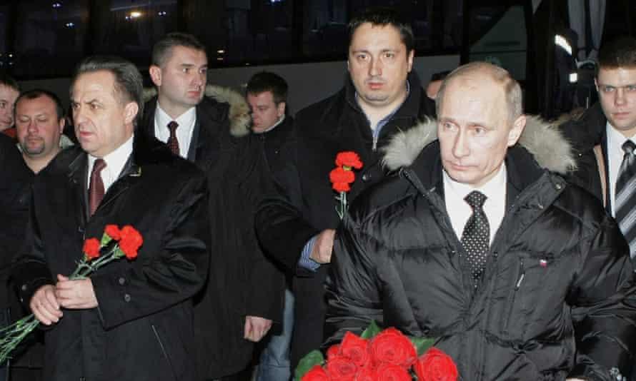 Alexander Shprygin, centre, pictured with Vitaly Mutko and Vladimir Putin in 2010.