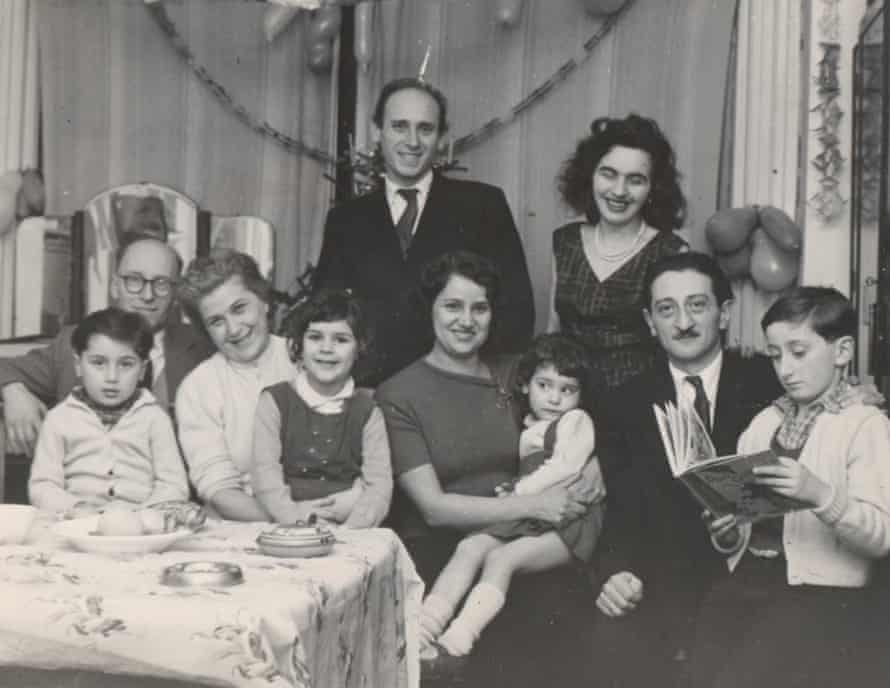 George Szirtes and his family (far right) with other refugee families in London, Christmas 1957