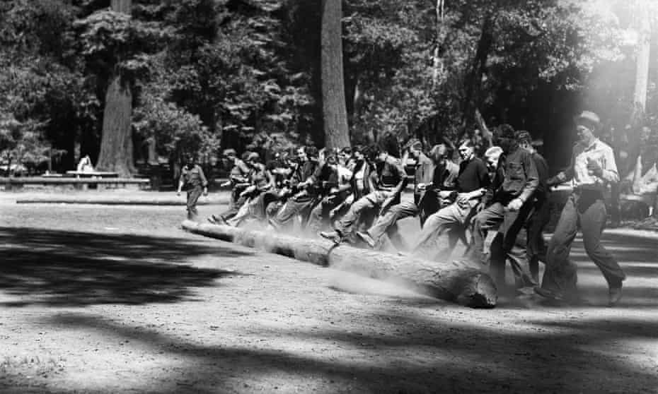 A group of teenage boys roll a log across a clearing at the CCC camp in Redwood state park.