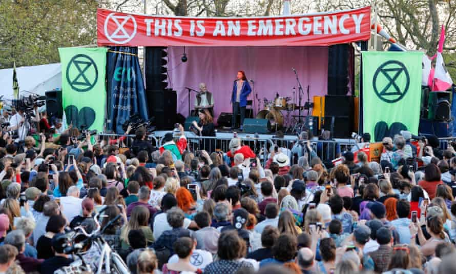 Swedish climate change activist Greta Thunberg speaks at Extinction Rebellion's environmental protest camp, London, April 2019.