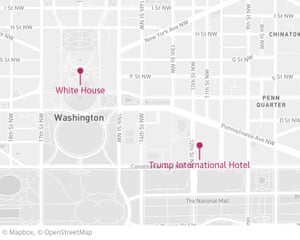 The distance between the White House and the Trump International Hotel in Washington.