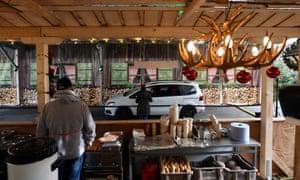 A drive-in Christmas market in Landshut, Germany