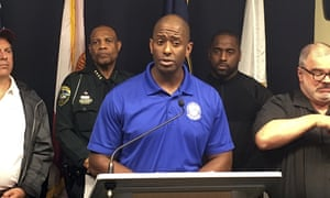Tallahassee mayor and Democratic gubernatorial candidate Andrew Gillum, speaks during a briefing on Hurricane Michael in Tallahassee on 10 October.