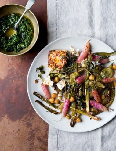 Flash-roast green veg