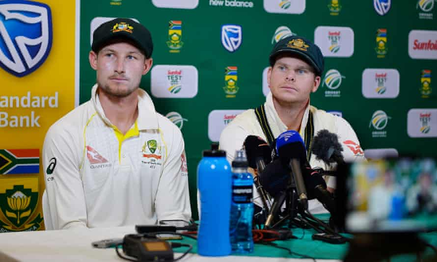 Cameron Bancroft (left) and Steven Smith address the media after day three of the third Test in Cape Town in March 2018.