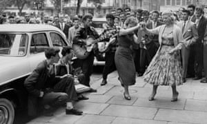 Skiffle band and dancers in Soho Square, London, in the 1950s.