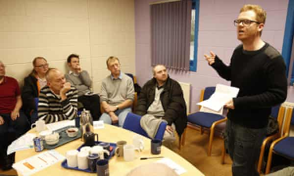 McGarvey rapping to a men's group about domestic violence at a community centre in Aloa, Stirlingshire.