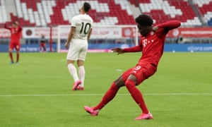 Alphonso Davies of Bayern Munich celebrates after he scores his team's fourth goal.