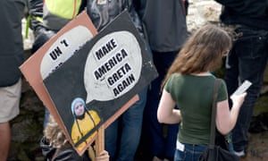 Make America Greta Again placard seen as Climate change activist Greta Thunberg sets sail for New York in the 60ft Malizia II yacht from Mayflower Marina, on August 14, 2019 in Plymou.