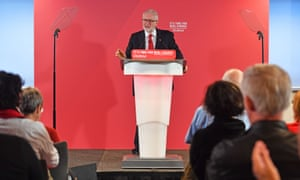 Jeremy Corbyn speaking at an event in Telford this morning.