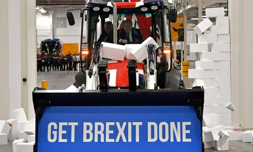 Boris Johnson's stunt with a polystyrene wall and a slogan draped digger was obligingly used by newspapers during the campaign.