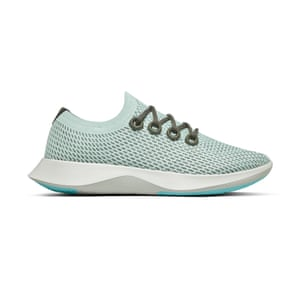 Allbirds focus on using natural or recycled materials like castor bean oil, recycled bottles, and responsibly sourced merino wool and sugarcane. Blue tree dasher, £120, allbirds.co.uk
