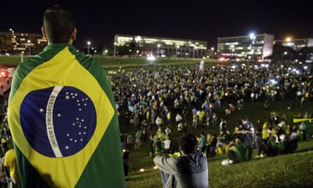 Demonstrators gather to protest against the government of Brazil at the congress building in Brasília.