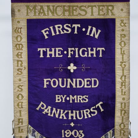 Manchester suffragette banner in the Conservation Studio at PHM.