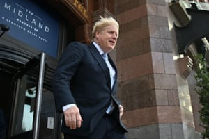 Boris Johnson leaving the Midland hotel, the main conference hotel, this morning.