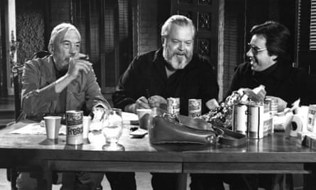 'This is a crazy, dishevelled, often hilarious film' … John Huston, Orson Welles and Peter Bogdanovich on set of The Other Side of the Wind