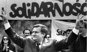 Former Polish president and Solidarity founding leader Lech Walesa during his presidential campaign in Plock, May 1989.