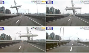 A series of images taken from video provided by TVBS shows the TransAsia ATR 72-600 turboprop plane clipping an elevated roadway just before it crashed into a river in Taipei, Taiwan.