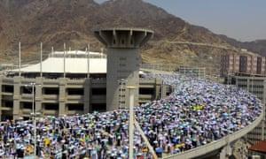 Muslim pilgrims during hajj in Mina, outside Mecca, last Friday.
