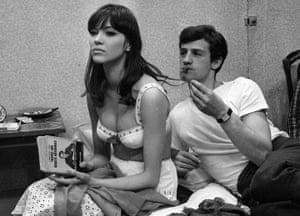 Anna Karina as Angéla and Jean-Paul Belmondo as Alfred in Jean-Luc Godard's romantic comedy Une femme est une femme, 1961