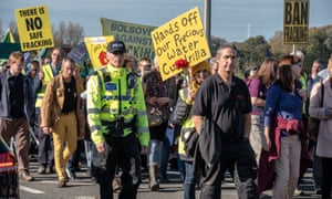 Protesters at Little Plumpton last year demonstrating against the decision to resume fracking at the Cuadrilla site at Preston New Road
