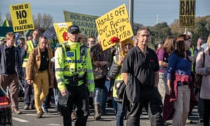 An anti-fracking protest in Lancashire.