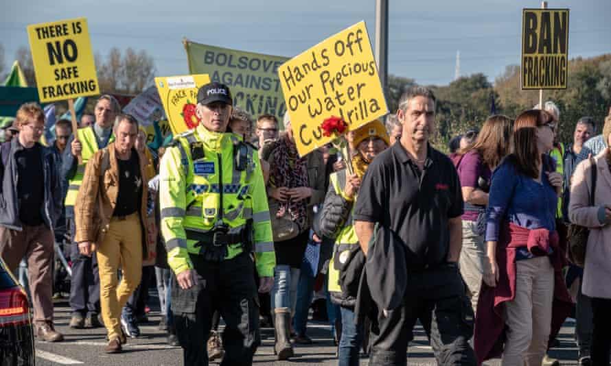 A 2018 protest near Cuadrilla's Preston New Road site.