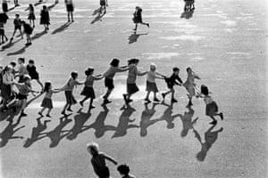 Schoolchildren on the playground of Bury grammar school, Lancashire, 1990