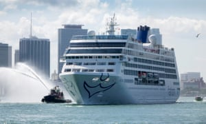 The cruise ship Adonia, carrying 704 people, heads to Cuba from Miami's port.