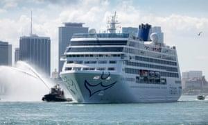 Carnival's cruise ship Adonia leaving Miami's port for Cuba.