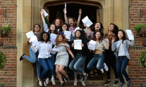 A-level students celebrate their results at King Edward VI high school for girls in Birmingham.
