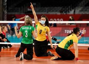 Gizele Maria Da Costa Dias of Brazil and Jani Freitas Batista of Brazil react during the match.