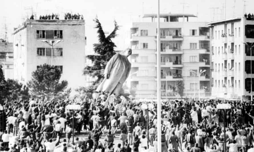 Enver Hoxha's statue in Tirana is toppled, 1991.