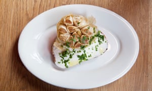 Confit garlic goat's curd on toast at The French House, Soho.