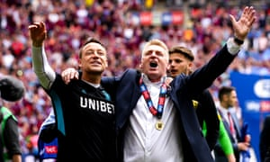 John Terry (left) and the Aston Villa manager, Dean Smith, celebrate after Aston Villa's defeat of Derby in the Championship play-off final.