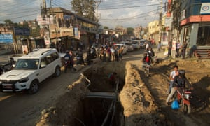 Kathmandu's drivers must contend with chaotic roadworks.