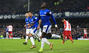 Everton substitute Oumar Niasse celebrates scoring his team's equaliser against West Brom after less than a minute on the pitch.