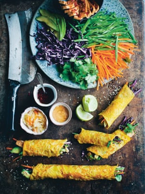 David Frenkiel and Luise Vindahl's Korean carrot crepe rolls.