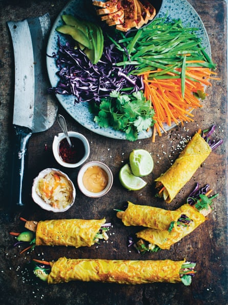 David Frenkiel and Luise Vindahl's Korean carrot crepe rolls.