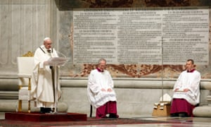 Pope Francis leads the Easter Vigil Mass on saturday.