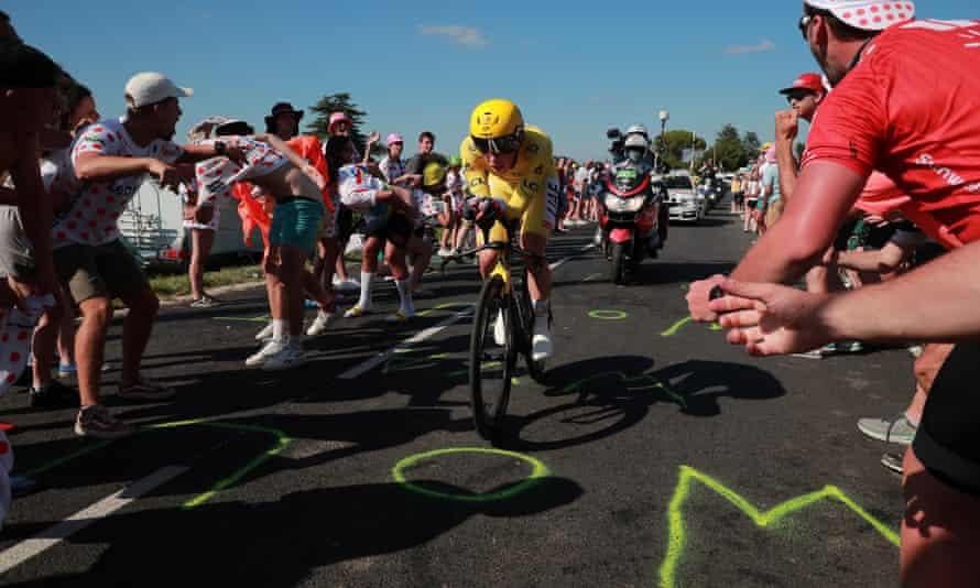 Tadej Pogacar of Slovenia races around the 30.8km route from Libourne to Saint-Émilion.